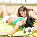 Lesbians lick pussy after a hard game of volleyball