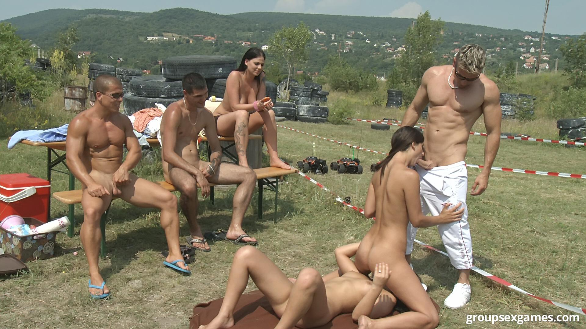 Realize, outdoor group sex fuck