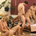 Foursome sex near the pool